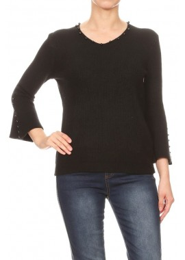 Wholesale Womens V-Neck Sweater Tops With Embelishment Dtetails