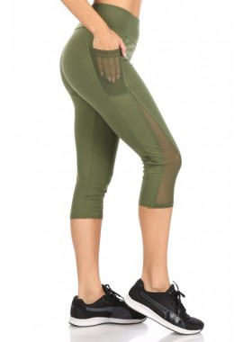 Wholesale Womens High Waist Sports Capri Leggings With Pockets & Mesh Panels