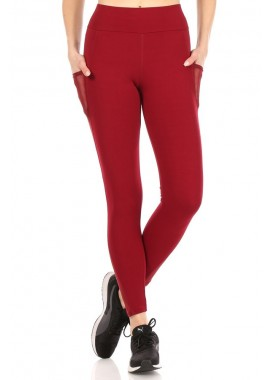 Wholesale Womens High Waist Sports Leggings With Mesh Panels & Side Pockets