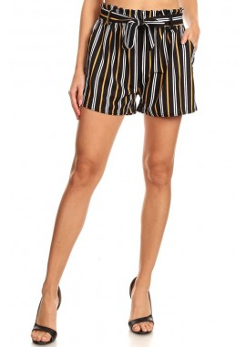 Wholesale Womens Paperbag Waist Shorts With Waist Tie & Pockets