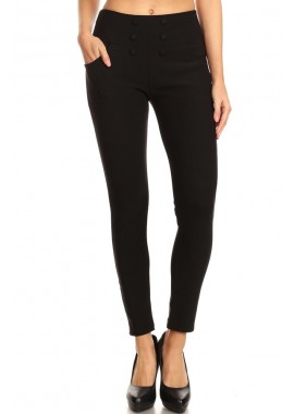 Wholesale Womens High Waist Skinny Pants With Front Button Detail
