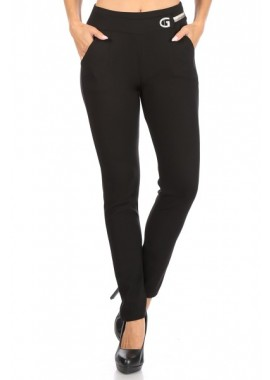 Wholesale Womens Solid Tregging Skinny Pants With Buckle Waist Detail