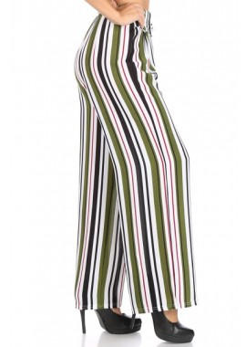 Wholesale Womens Wide Leg Palazzo Pants With Waist Tie & Button Detail