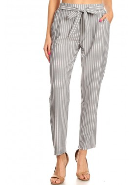 Wholesale Womens Loose Fit  Pants With Pockets & Front Bow Tie