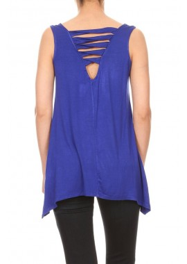 Wholesale Womens Missy Strappy Twist Back Sleeveless Tops