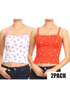 Wholesale Womens 2 Packs Bundle:Printed Crop Tank Tops With Square Neckline