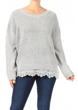 Wholesale Womens Oversized Pullover Knit Sweaters With Bottom Lace Trim