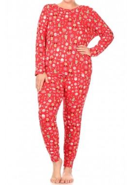 Wholesale Womens Plus Size 2-Piece Fleece Lined Long Sleeve Tops + Matching Joggers Sweatpants Pajamas Sets