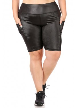 Wholesale Womens Plus Size High Waist PU Faux Leather Biker Shorts With Pockets