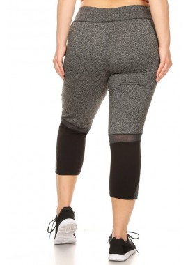 Wholesale Womens Plus Size Color Block Sports Capri Leggings