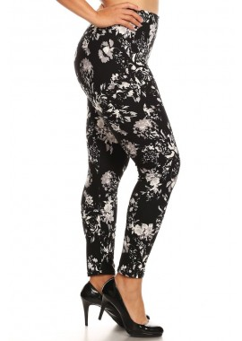 Wholesale Womens Plus Size Printed Fleece Lined Leggings