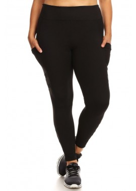Wholesale Womens Plus Size Sculpting Sport Leggings With Side Pockets & Mesh Panels