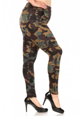 Wholesale Womens Plus Size Tregging Skinny Pants With Zipper Pockets