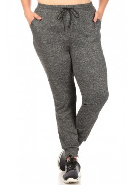 Wholesale Womens Plus Size Soft Brushed Joggers Sweatpants With Shoe Lace Tie