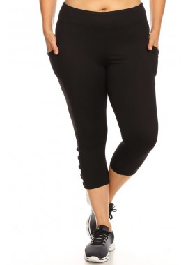 Wholesale Womens Plus Size Sports Capris Leggings With Side Cross Straps & Pockets