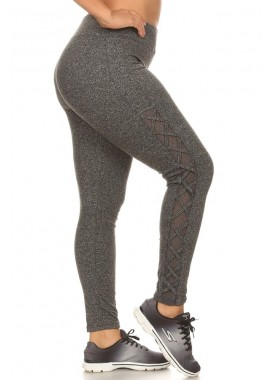 Wholesale Womens Plus Size Activewear Leggings With Mesh & Criss Cross Side Panels
