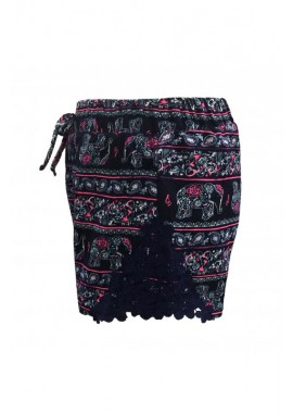Wholesale Big Kids Printed Shorts With Side Panel Lace Applique
