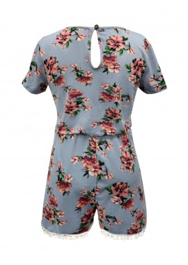 Wholesale Big Kids Soft Brushed Short Sleeves Rompers With Pompom Trim