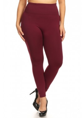 Wholesale Womens Plus Size Solid Fleece Seamless Leggings