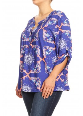 Wholesale Womens Missy Plus Button Up Tops With 3/4 Rolled Up Sleeves