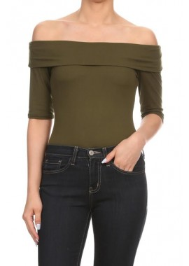 Wholesale Womens Solid Color Off the Shoulder Bodysuit