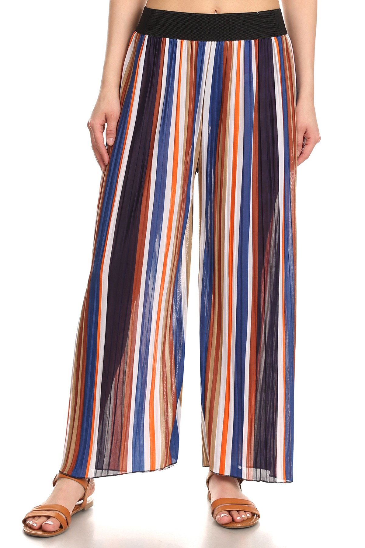 The easy-breezy wide leg silhouette of palazzo pants make them a comfortable and chic women's wardrobe staple. Our constantly changing assortment includes basic black, navy, brown, beige, cream and white options that look great with printed tops and wedges.
